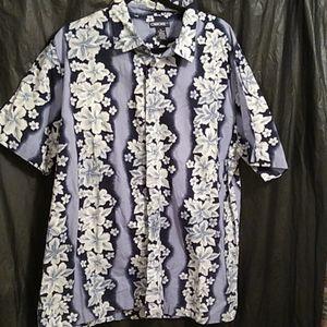 Cherokee blue and white floral Hawaiian shirt XL